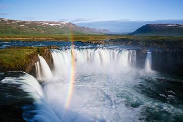Godafoss waterfall and rainbow, Iceland Landscape