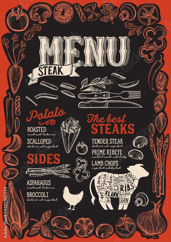 Steak menu for restaurant with frame of graphic vegetables. - 222962259