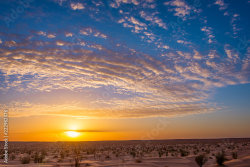 Sunset in the desert in South Tunisia