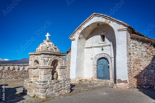 Church of the village of Parinacota in Chile, South America © Delphotostock