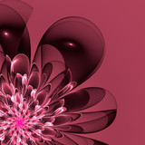 Beautiful pink flower in fractal design. Artwork for creative design, art and entertainment. - 222964292