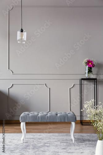 Szary korytarz wnętrze z ławką, lampą i kwiatem w wazie na stojaku. Prawdziwe zdjęcie. Miejsce na twój plakat