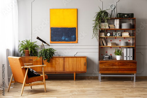 Armchair next to wooden cupboard with plants in retro flat interior with painting. Real photo