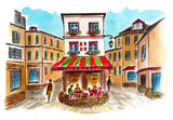 A sketch of an old cafe in Montmartre in Paris by liner and watercolor. City sketch - 222968457