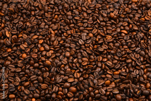 Coffee beans background. Top view. Coffee beans texture.