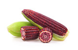 Fresh purple corn isolated on white background - 222971888