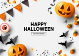 Happy Halloween party label/ invitation Composition with Jack O' Lantern pumpkins, party decorations and sweets on a colorful abstract background. Top view vector illustration. - 222976223
