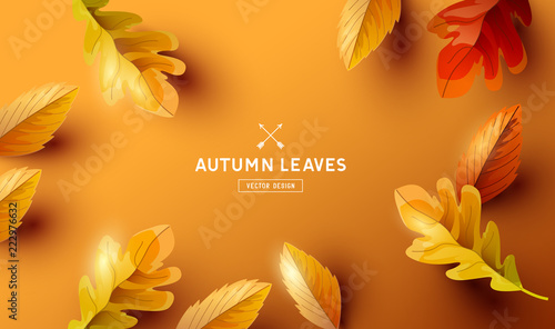 Autumn Background with Falling Leaves Design - 222976632