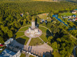 Leinwanddruck Bild - Church of Our Lady of the Sign (Znamenskaya church) in Dubrovitsy - Moscow region Russia - aerial view
