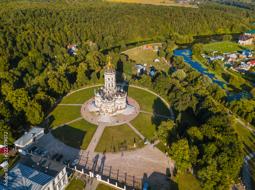 Leinwanddruck Bild Church of Our Lady of the Sign (Znamenskaya church) in Dubrovitsy - Moscow region Russia - aerial view