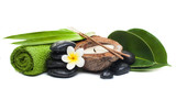 Set spa for healthy therapy with stones, candle, leaves and flower