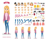 Cute teen girl character set for animation - 222986808