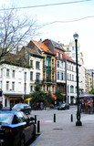 BRUSSELS, BELGIUM - MAY 04, 2018: belgian buildings and cars near street lantern. Concept of european architecture and lifestyle. - 222988496