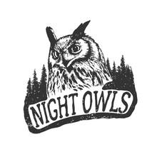 Vintage Hand Drawn Badgethe Night Owls In Forest  Illustration Sticker