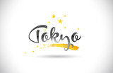Tokyo Word Vector Text with Golden Stars Trail and Handwritten Curved Font.