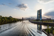 Main River Scenery and Frankfurt Skyline in Vanishing Point's End