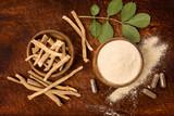 Ashwagandha superfood powder and root. - 222994036