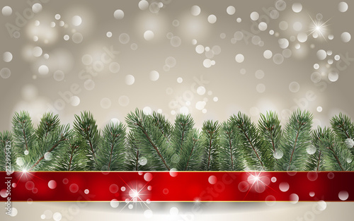banner with detailed christmas tree and red ribbon realistic fir tree border