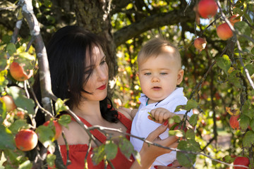 Mother with a small son in an apple orchard