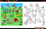 insects animal characters coloring book - 222997608