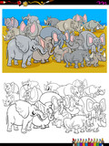 elephants and rhinos characters coloring book - 222997632