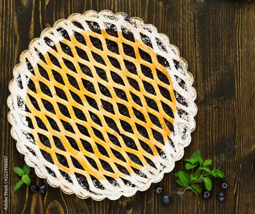 Poster Freshly baked homemade blueberry pie.
