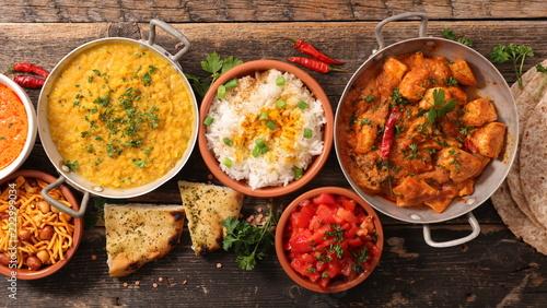 Foto Murales assorted india food cuisine