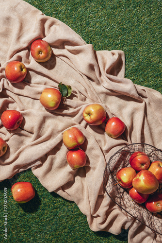 Fototapeta top view of red apples in metal basket sacking cloth and green grass