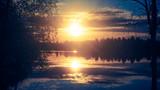 beautiful view at lake päijänne at sunset