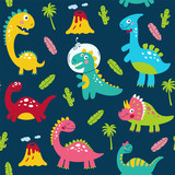 Fototapeta Dinusie - Seamless pattern with cute dinosaurs for children print. Vector illustration © 210484kate