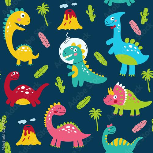 Fototapeta Seamless pattern with cute dinosaurs for children print. Vector illustration