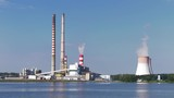 Construction of a large coal-fired power plant. A large cooling tower in the area of a large power plant - 223010078