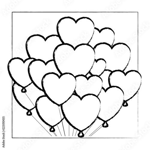 Heart Shaped Balloon On Frame Sketch
