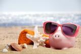 Summer piggy bank with sunglasses - 223010826