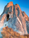 Cave Dwellings in an Arid Landscape in Cappadocia