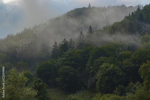mgła w górach nad jeziorem Bicaz, północnej Rumunii