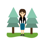 elegant woman with clothes and pine trees - 223016493