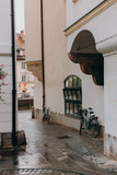 Beautiful streets after the rain of a European city with old architecture