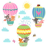 Animals fly in a hot air balloon. Illustration