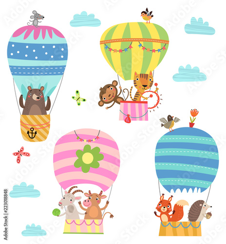 Animals fly in a hot air balloon. Illustration - 223018848