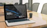 digital business website screen laptop at conference room mockup - 223028429