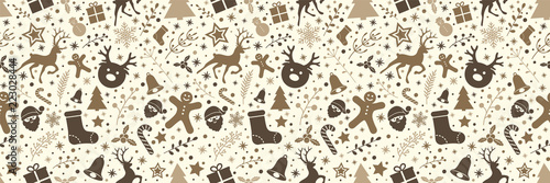 Design of Christmas decoration - seamless pattern. Vector. - 223028444