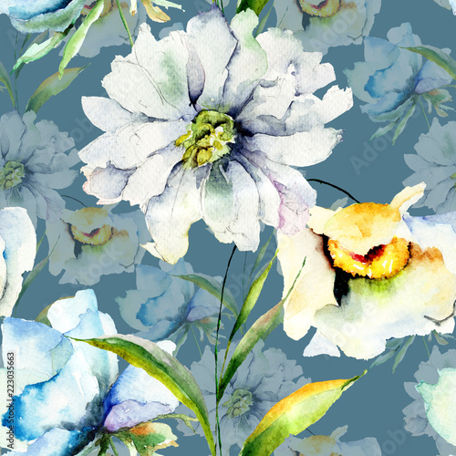 Fototapeta Seamless pattern with summer flowers