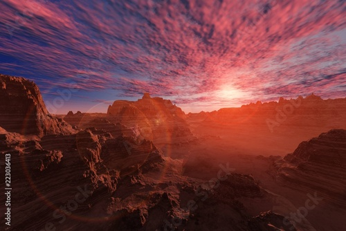 Alien landscape. The stony desert at sunset.   - 223036413