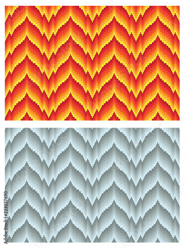 Two seamless bargello patterns, different hues of color. Imitation of needlepoint embroidery. Flame motifs. Swathes are included. - 223037690