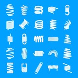 Coil spring cable icons set. Simple illustration of 25 coil spring cable vector icons for web - 223044015