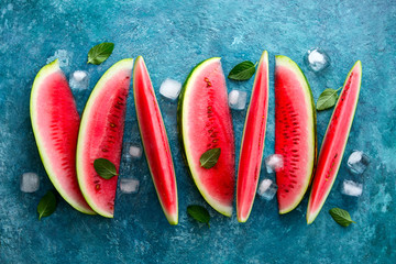 Watermelon slices with ice cubes