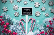 Black Christmas Sign,Lights, Frosty Look, Text Happy Holidays
