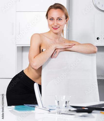 Portrait of bare chest girl
