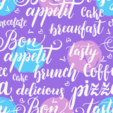 Decorative seamless pattern with brush calligraphy style lettering. Food concept. Design template for cafes, restaurants, menu. Vector illustration. - 223047455
